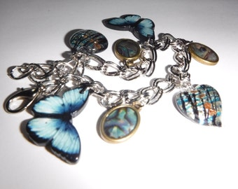 Charm Bracelet with Butterflies and Glass Charms
