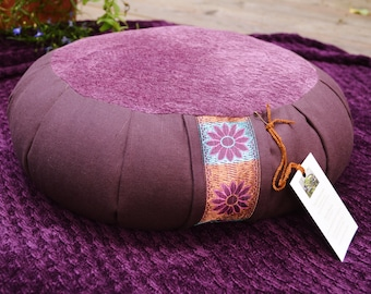 Made to Order Royal Purple Spiral Ribbon Organic Buckwheat Hull Meditation Cushion with Gorgeous Copper and Turquoise Sari Ribbon LAST 3