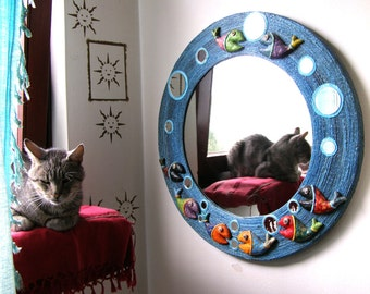 BLUE HEMP Rope MIRROR, Large Round Mirror with Hemp Rope Frame, Decorated with 8 Fish, 14 Small Mirrors, Home Decor, Nautical Mirrors, Fish