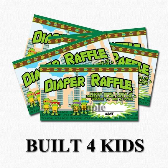 baby ninja turtle diaper raffle tickets instant download print it