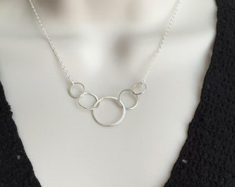 Delicate Sterling Silver Infinity Necklace. 5-Circle Necklace. Interlocking Ring Necklace. Circle of Life Necklace. Friendship Necklace.