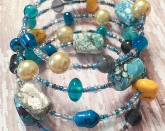 Classy Multi-Colored Memory Wire Bracelet