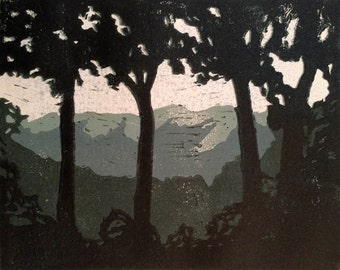 Misty Mountains - Linocut Reduction Print