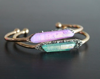 Crystal Point Bracelet.Boho Stacking Brcelet. Boho Style Wedding Jewelry