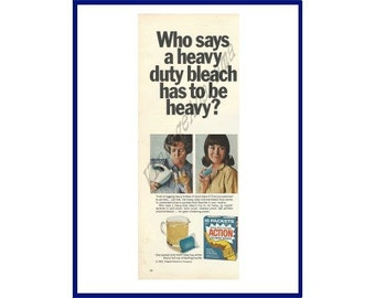 ACTION CHLORINE BLEACH Original 1967 Vintage Color Print Ad - Woman Dealing With the Hassle of Liquid Bleach vs. Action Packets