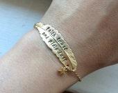 Faith trust and pixie dust bracelet, feather bracelet, star bracelet, neverland, Peter Pan