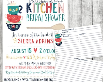 Kitchen Bridal Shower invite with Recipe Cards