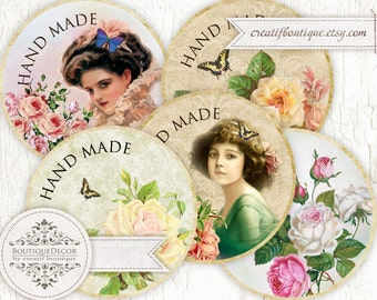 Vintage Flower Labels 5 cm. Set of 6. Digital download for scrapbooking and packaging.