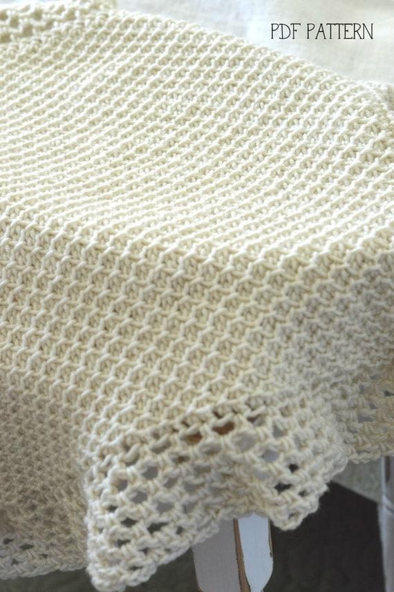 Tunisian Crochet Baby Blanket Pattern : TUNISIAN Crochet Blanket Pattern Baby Afghan Pattern Vintage
