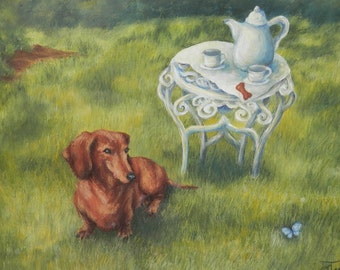 "Dachshund Canvas Art Print from Original Pastel Painting- 14 x 18"" Giclee"