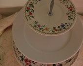 """Lovely English Flower Garden Tea Stand/Cake Stand/Appetizers/Pastry, Multi-colored Flowers, CENTERPIECE, Large plate12 1/2""""Wedding!(F238)"""