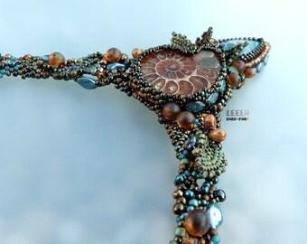 GrandpAmmonite - bead embroidery/freeform beadwoven necklace