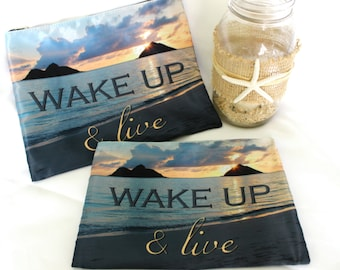 POLY-ZIP Photo Clutch -- Wake Up & Live
