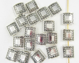 20pcs 12mm Squares Double Sided Greek Key Border Silver Plated Bead (F1848)