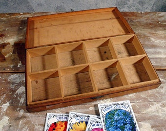 Antique Oak Seed Box with Partitions