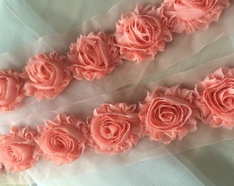 Pink Shabby Chic Rosetter Lace Trim, Baby Headband Lace
