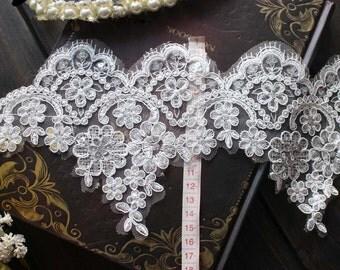 Bridal Veil Alencon Lace Trim with Sequins , Wedding Lace