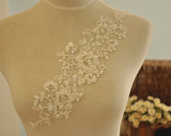 Beaded Alencon Lace Applique for Bridals, Veils, Gowns