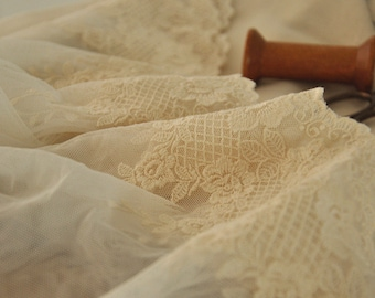 Lovely Cotton Embroidery Lace, Antique Style Gauze Lace Trim 2 yards