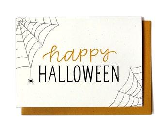 Happy Halloween Card - Creepy Halloween Card - Spider Web