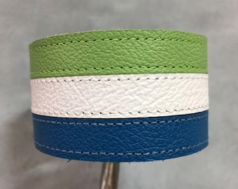 Green white blue leather bracelet cuff, leather braclet, leather cuff, mens leather bracelet, mens leather cuff, bracelet cuff.