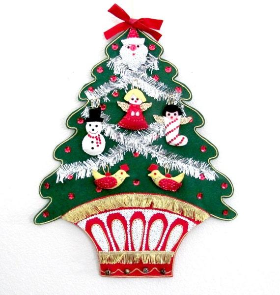 Vintage christmas wall hanging s bucilla jeweled tree