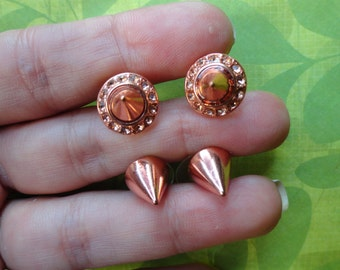 Rose gold spike stud earrings
