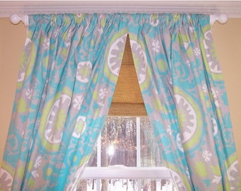 "Suzani Curtains,Turquoise Curtains,Grey and Turquoise Curtains, Custom Curtains,Pair Drapery Panels,Curtains,24"" Wide,52"" Wide"