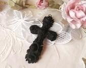Rare Antique Vintage Victorian Gutta Percha Floral Roses Mourning Cross Pendant