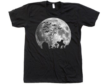 Moon Halloween t-shirt Custom Hand Screen Printed on American Apparel Crew Neck Available: S , M , L , Xl , Xxl
