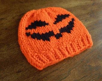 Knit Hat - Jack O Lantern Hat, Pumpkin Hat, Halloween Hat : Baby Hat, Toddler Hat, Child Hat