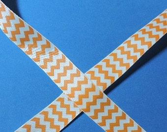 Orange and white chevron ribbon - 3 yards - Overstock sale