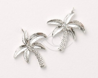 3342012 / Coconut Tree / Rhodium Plated Brass with CZ Pendant 22mm x 25.5mm / 2.1g / 2pcs