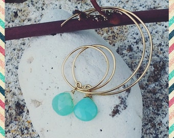 Alley Oop 14k gold-filled hoops with aqua chalcedony briolettes are a fun variation of classic hoops