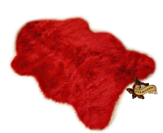 Faux Red Fur Sheepskin Rug by FurAccents