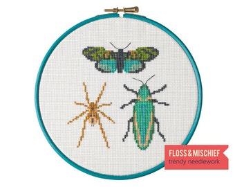 Beginner cross-stitch kit - Emerald Bug Trio - inc insect cross stitch pattern