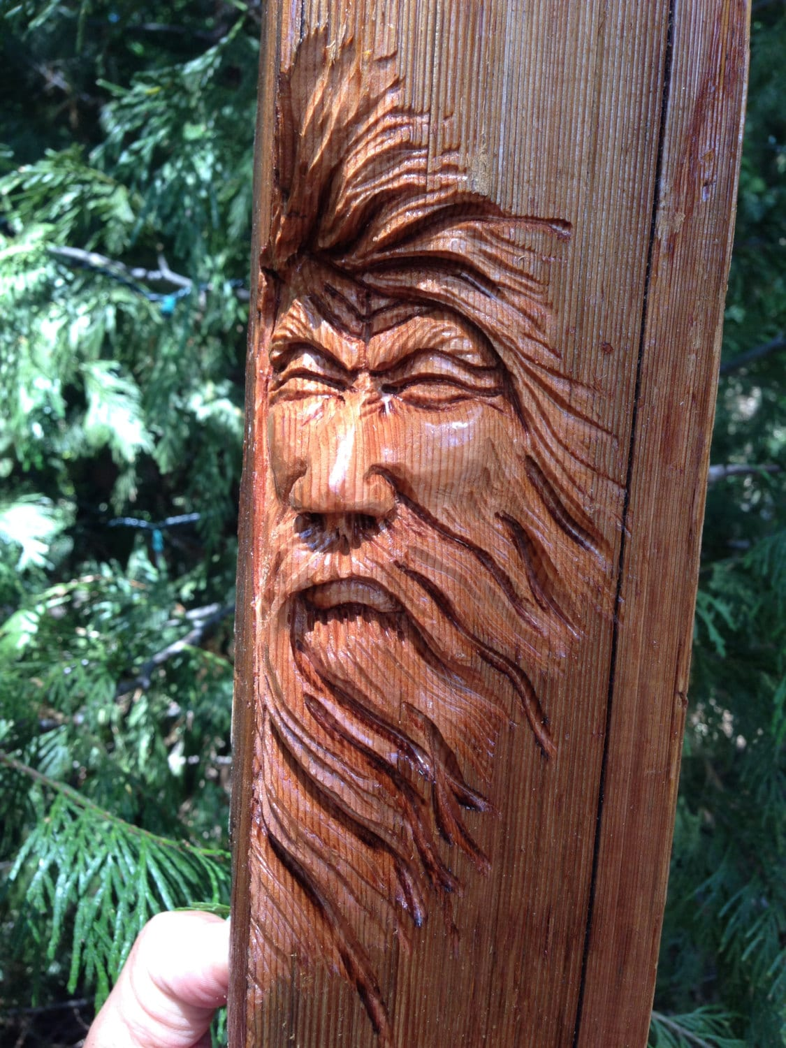 Wind blown hand carved wood spirit carving ooak cedar