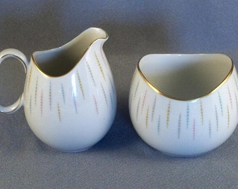 Vintage 1960s Johann Haviland Bavaria Germany Fine China Sugar & Creamer JOH9090 THO518