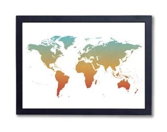 """World (colour), A4 8x10"""" A3 or 11x14"""", printed"""