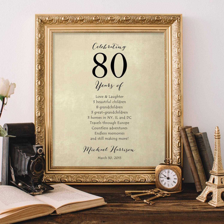 Regalo para la abuela el abuelo 80 regalo de cumplea os de for Decoracion 80 anos hombre