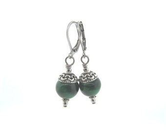 green tigereye dangle earrings with stainless steel earwires