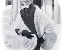 Vintage KNITTING PATTERN PDF Ladies Angora Stole Length 71 inch /180 cm Download