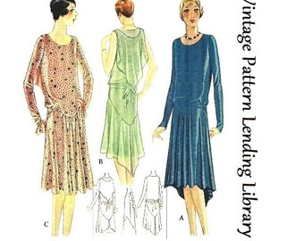 1928-1929 Ladies Dress With Shoulder Drape - Reproduction Sewing Pattern #Z5428