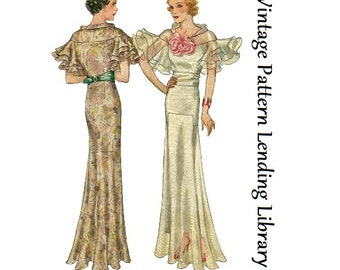 1934 Ladies Evening Gown With Wing Sleeves - Reproduction Sewing Pattern #T7653