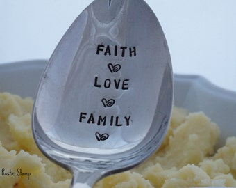 Faith Love Family, Stamped Serving Spoon, Silver Plated Serving Spoon, hand stamped, unique gift for mom, hostess gift, engagement gift