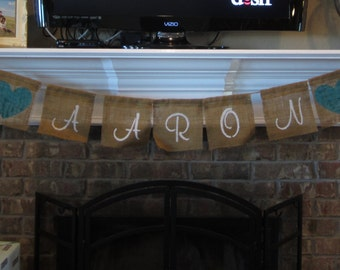 Custom Burlap Name Banner/Bunting - Birthday/Pictures/Baby Shower/Bridal Shower/Engagement Party
