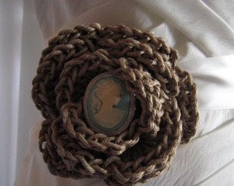 Twine Crochet Rustic Bridal Belt with Baby Blue Cameo