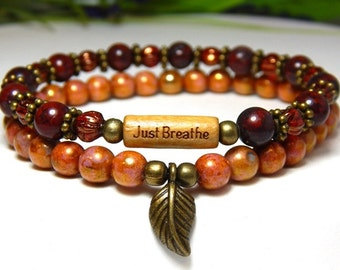 Just Breathe Bracelet, Orange Bracelet, Red Bracelet, Autumn Bracelet, Fall Fashion, Autumn Jewelry, Fall Bracelet, Beaded Bracelet