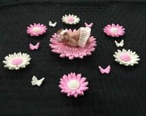 Pink Tutu Baby Daisy Butterfly Shower Cake Cupcake Decorations Topper Fondant Babyshower Girl Favor Keepsake Gerber Daisies