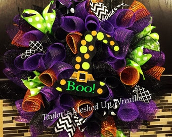Halloween Swirl Deco Mesh Wreath